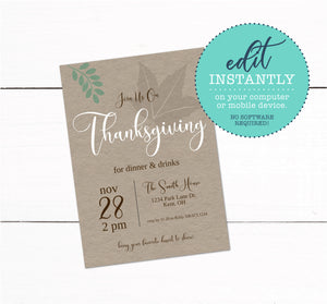 Thanksgiving Dinner & Drinks Invitation
