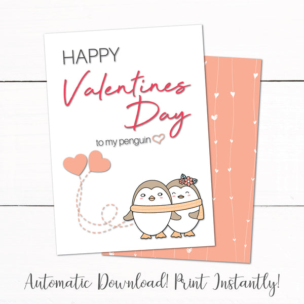 Valentines Day Penguin Printable Greeting Card
