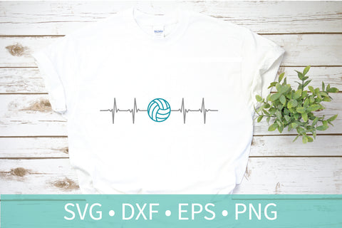 Volleyball Heartbeat SVG DXF PNG EPS Silhouette Cricut File