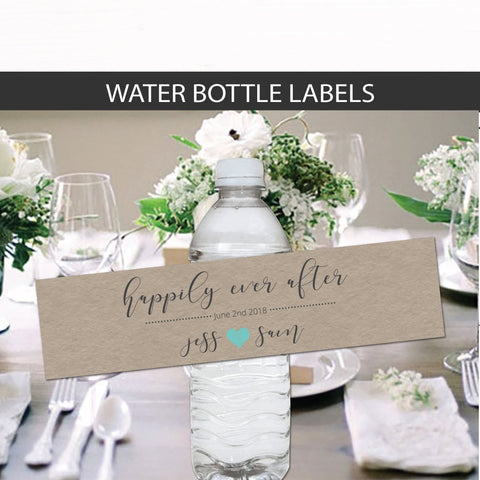 Wedding Water Bottle Labels - Wedding Labels - Wedding Favors - Wedding Decor - Kraft Water Bottle Labels - Name and Date Water Labels