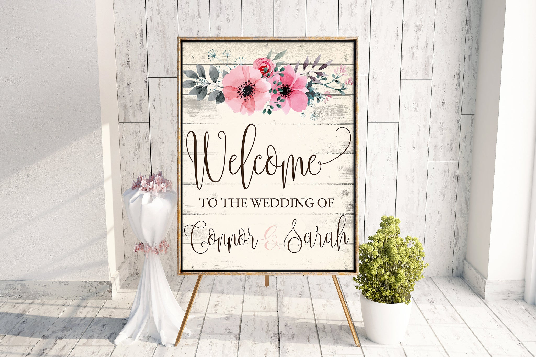 Wedding Welcome Floral Sign - Anniversary Welcome Sign - Party Welcome Sign - Antique White Floral Sign - 16x20 Floral Event Welcome Sign