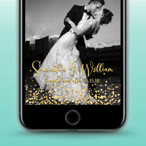 Wedding Anniversary Bridal Shower Gold Glitter Snapchat Geofilter