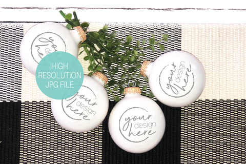 White Christmas Bauble Ornaments Mockup