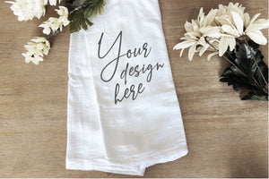 Tea Towel Flour Sack White Flowers Mockup