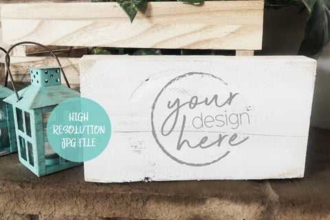 White Wood Block Sign Product Mockup | Wood Envelope Mockup