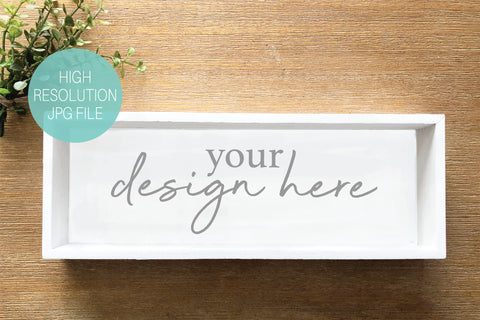 White Wood Shadow Box Sign Product Mockup
