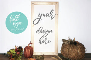 Tall Fall Wood Frame Sign Mockup
