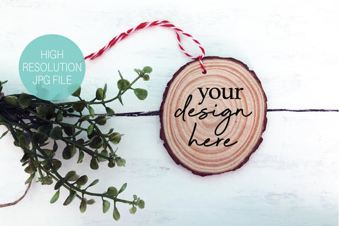 Circle Wood Slice Christmas Ornament Mockup