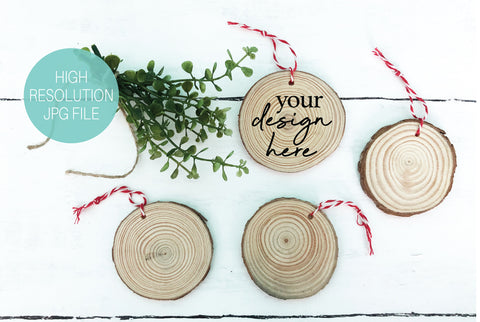 Circle Wood Slice Christmas Ornaments Mockup