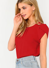 Frayed Layered Sleeve Top