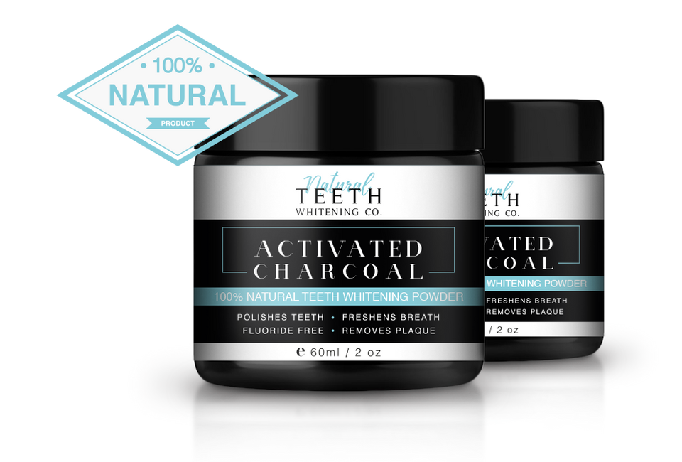 Natural Teeth Whitening 100% Natural Activated Charcoal Powder - 2 Pack full 1 month course
