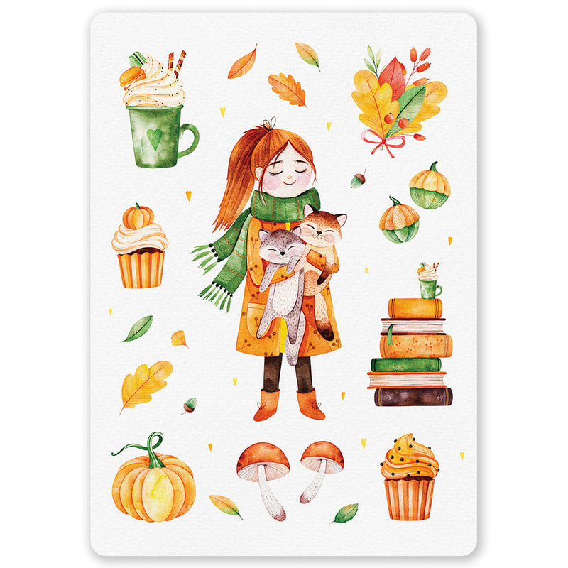 Autumn Girl Holding Cats Postcard