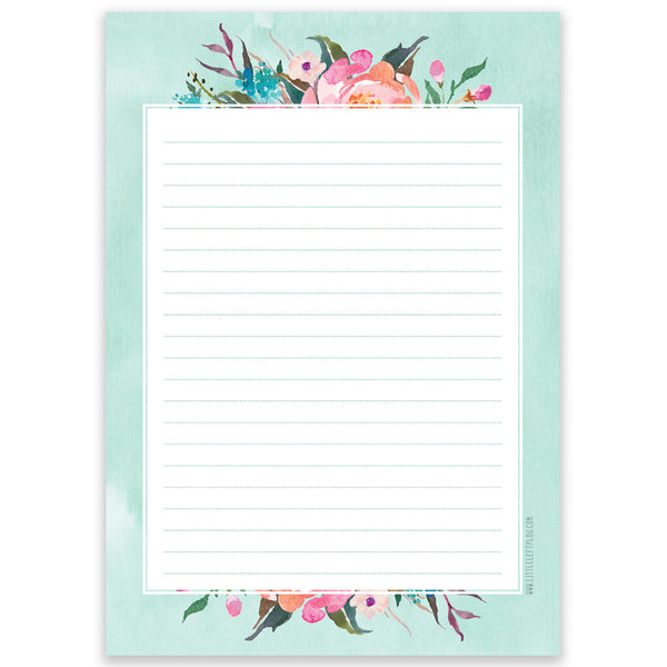 A5 Blue Flower Notepad Double Sided By Little Lefty Lou