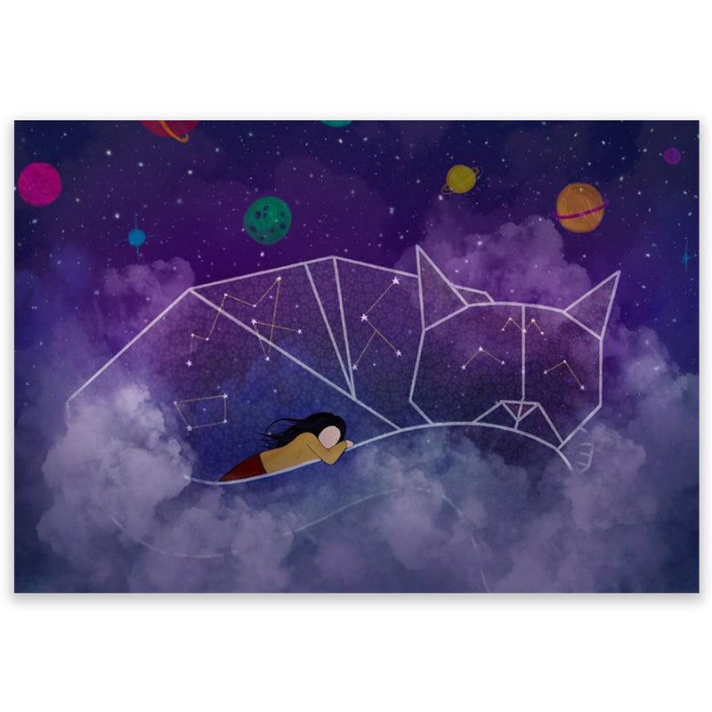 Cat Nap In Space Postcard