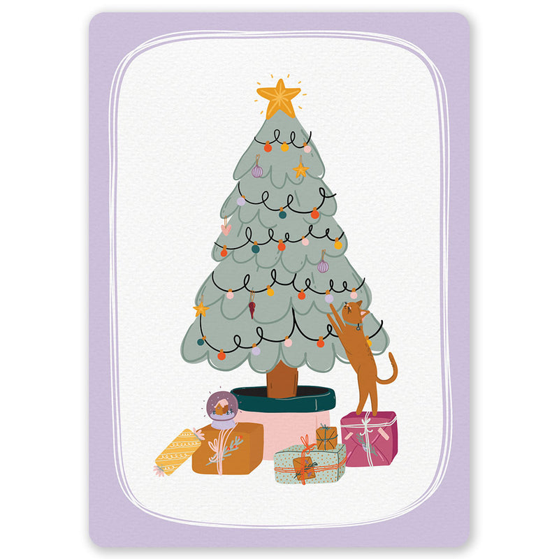Christmas Tree Cat Postcard