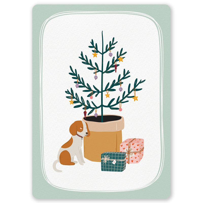 Christmas Tree Dog Postcard