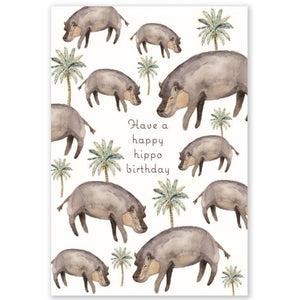 Happy Hippo Birthday Double Card + Envelope