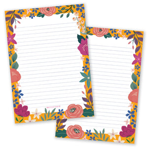 Floral Yellow Notepad - Double Sided