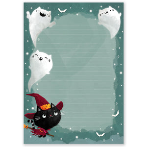 A5 Halloween Cats Notepad - Double Sided