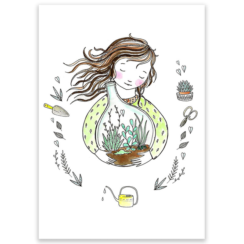 Marieke Ten Berge Postcard Girl with terrarium