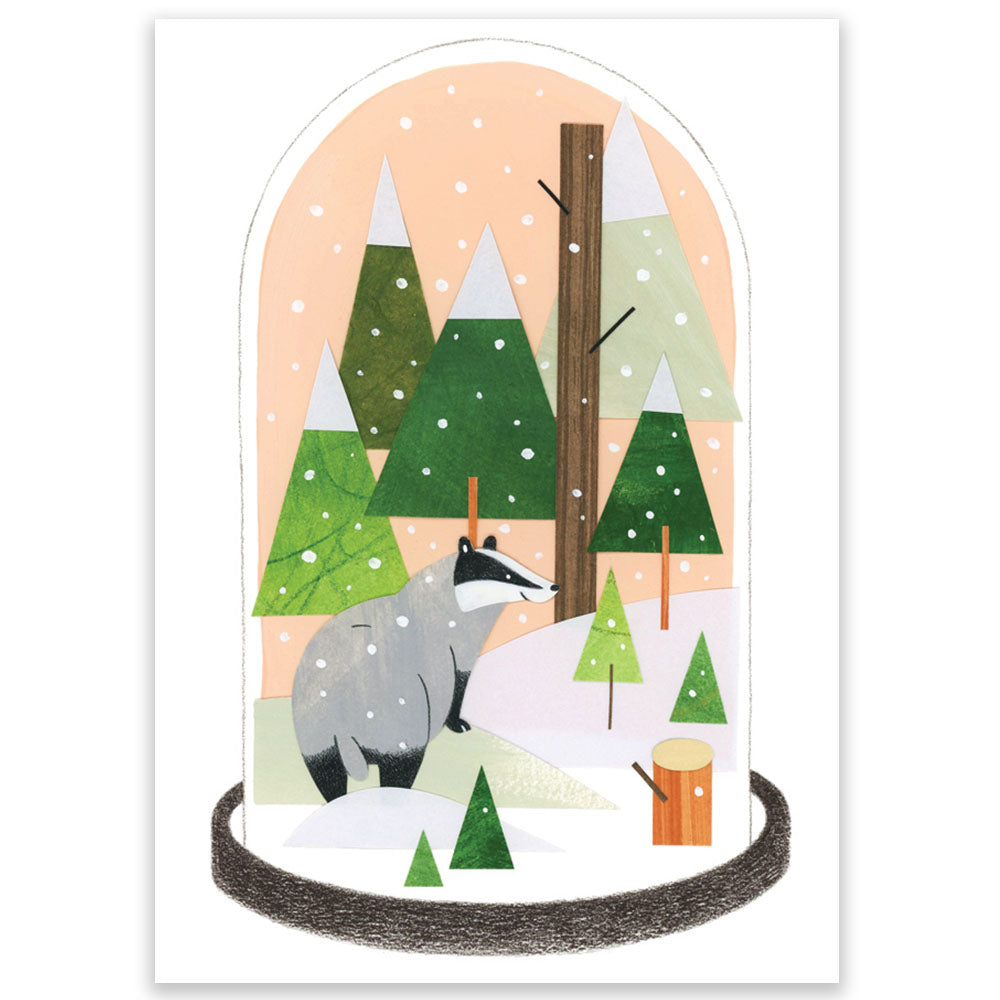 Winter Badger Postcard