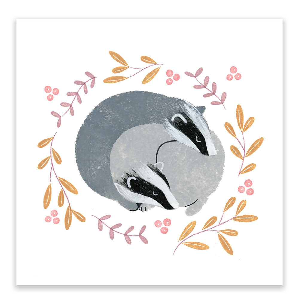 Sleeping Badgers Postcard - Little Lefty Lou