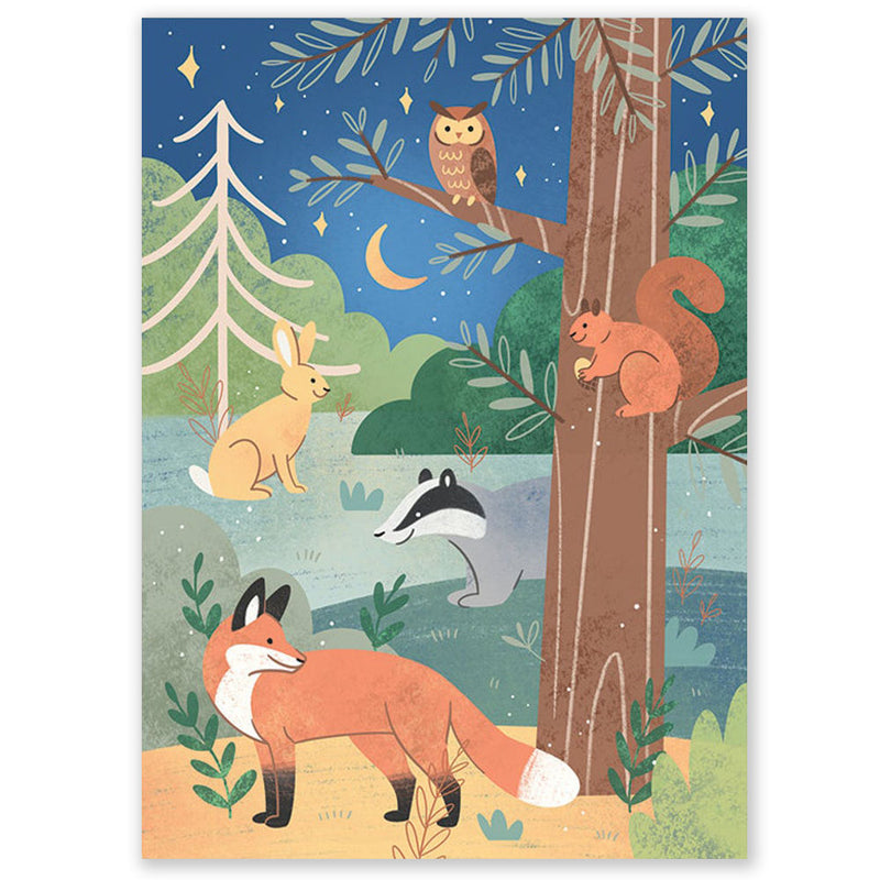 Woodland Animals Postcard