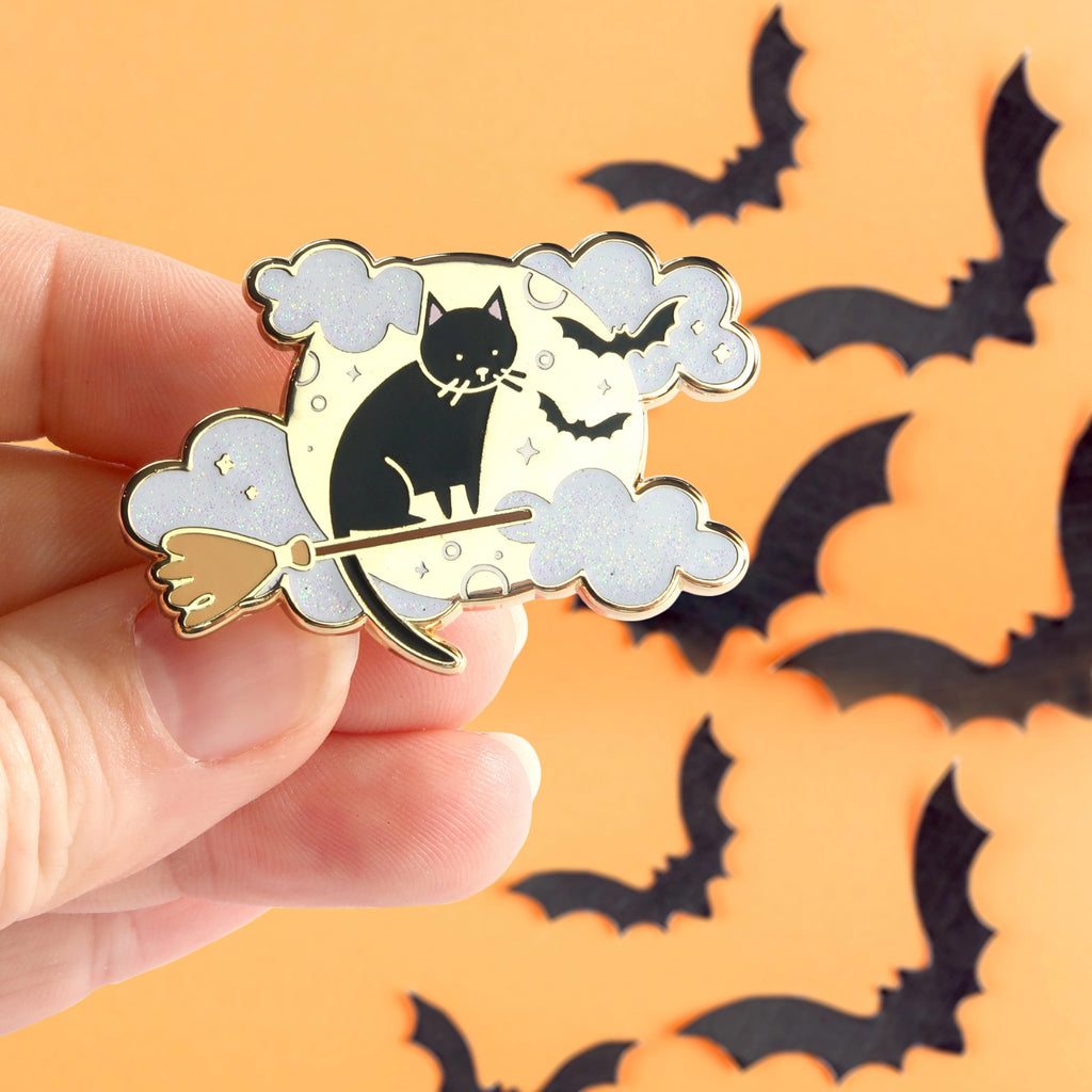 Witchy Moon Cat Pin - Little Lefty Lou