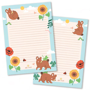 A5 Bear in Summer Notepad - Double Sided