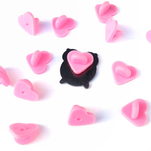 Heart Shaped Rubber Pin Backs - Little Lefty Lou
