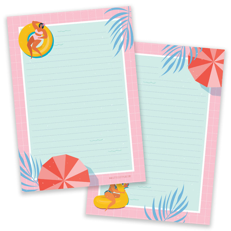 PRE-ORDER - A5 Pool Party Notepad - Double Sided - Little Lefty Lou
