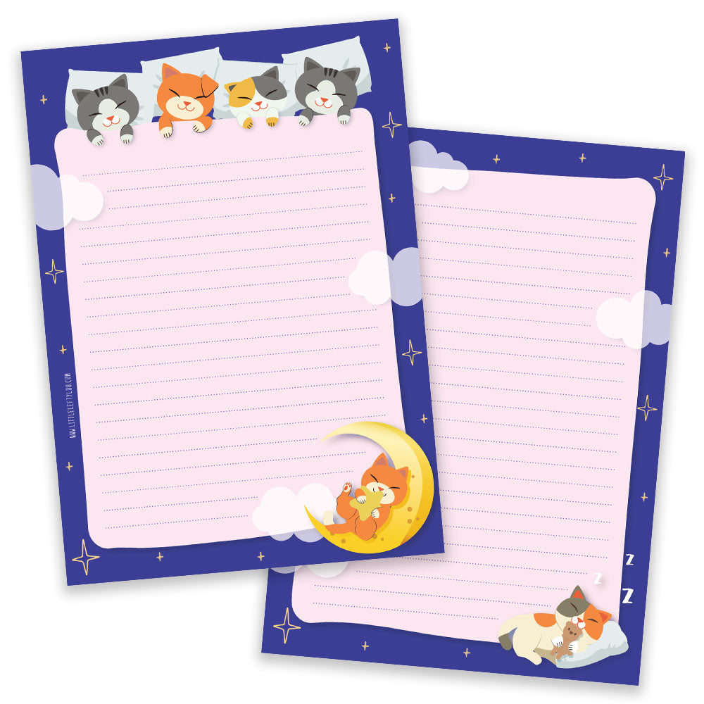 PRE-ORDER - A5 Sleepy Cats Notepad - Double Sided - Little Lefty Lou