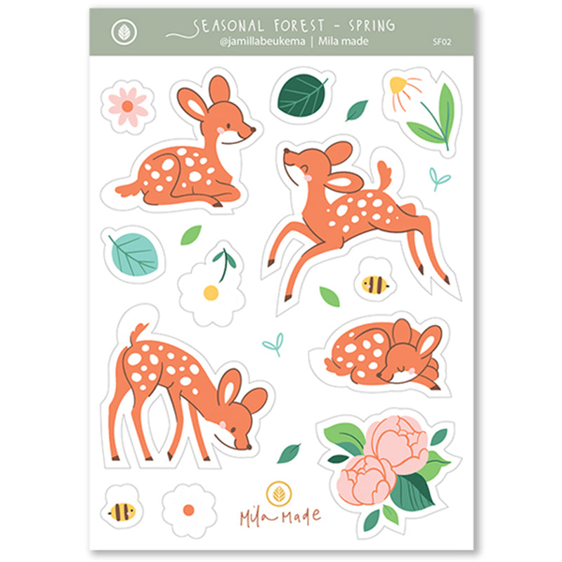 A6 Deer in Spring Sticker Sheet