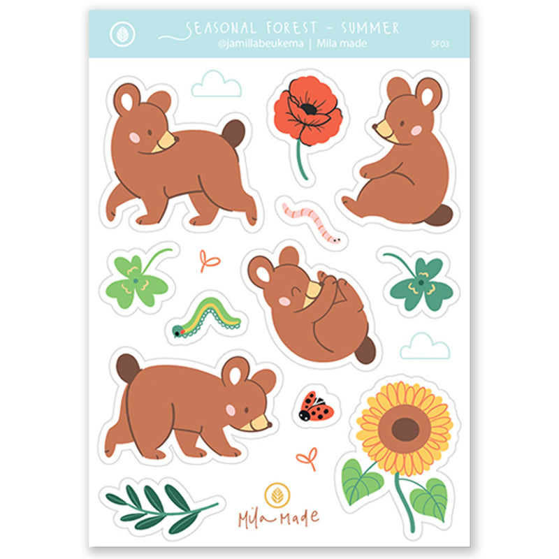 A6 Bear in Summer Sticker Sheet