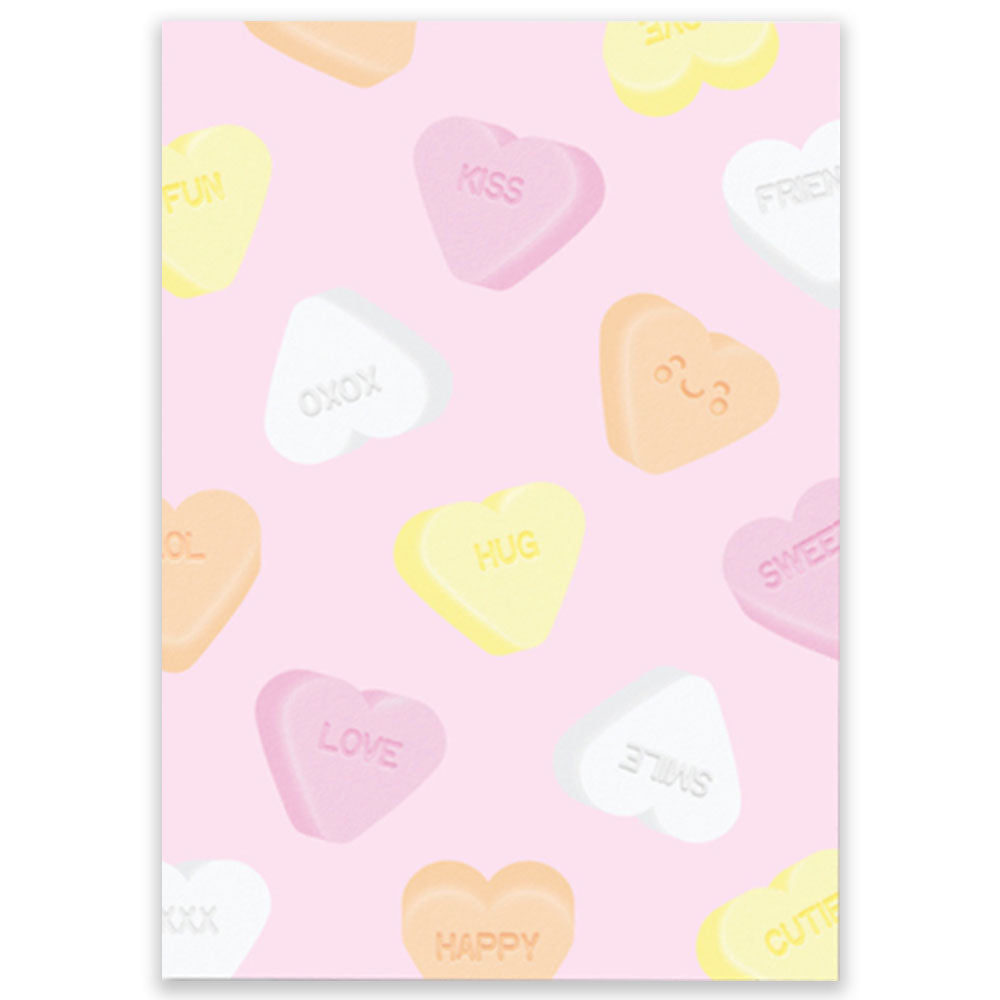 Sweet Candy Hearts postcard design by studio schatkist