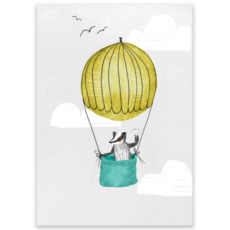 Badger In A Hot Air Balloon Postcard - Little Lefty Lou