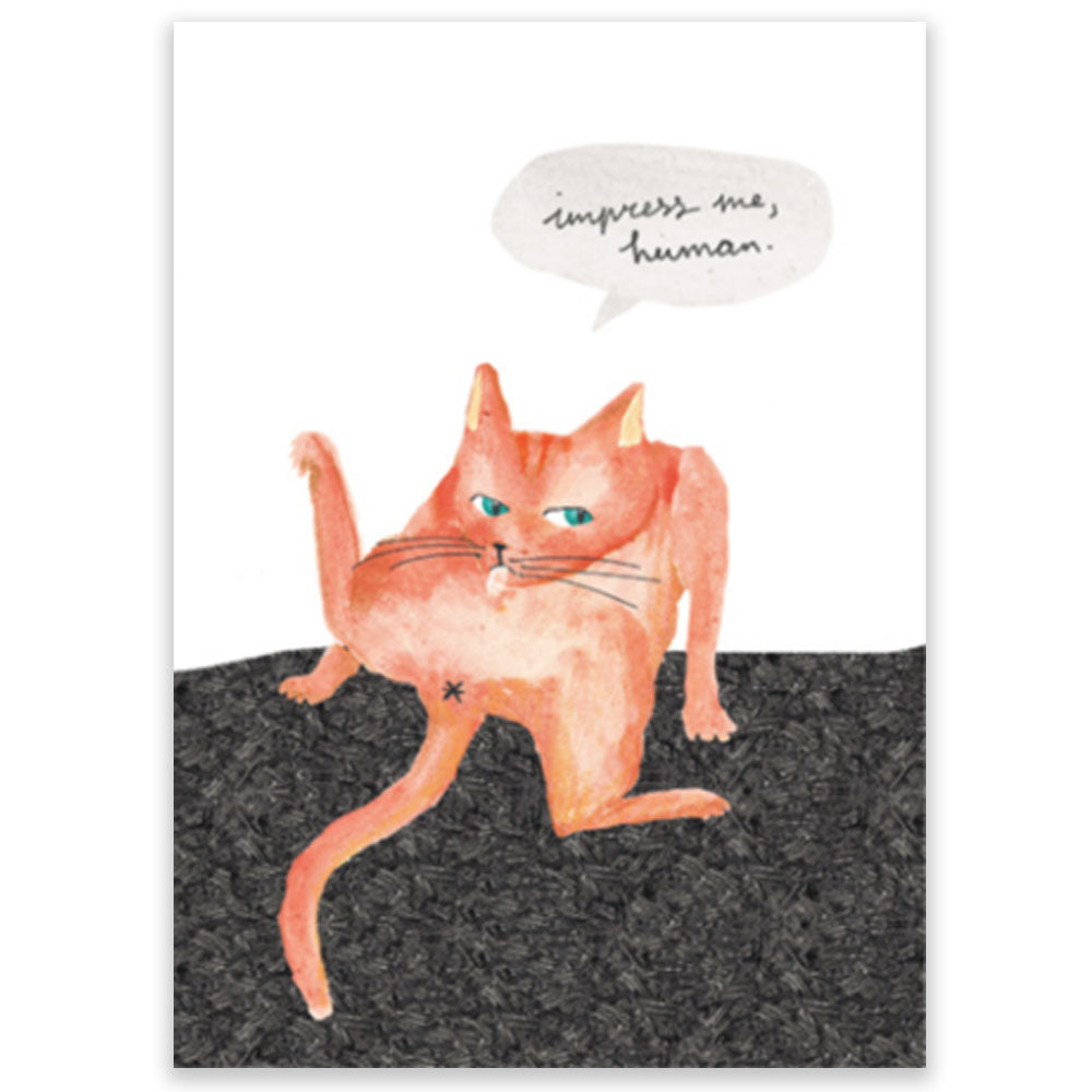 Cat Impress Me, Human Postcard - Little Lefty Lou