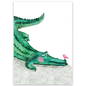 Crocodile With Bird Postcard - Little Lefty Lou