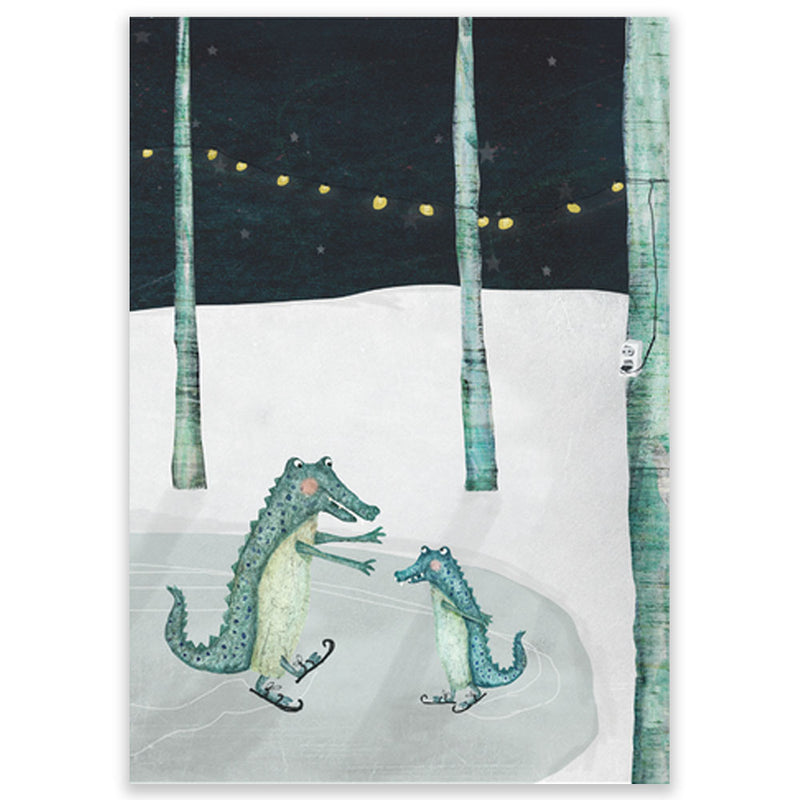 Crocodiles Ice Skating Postcard