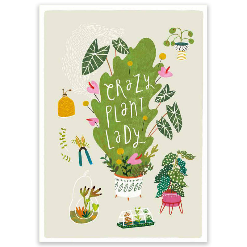 Crazy Plant Lady Large Postcard - Little Lefty Lou