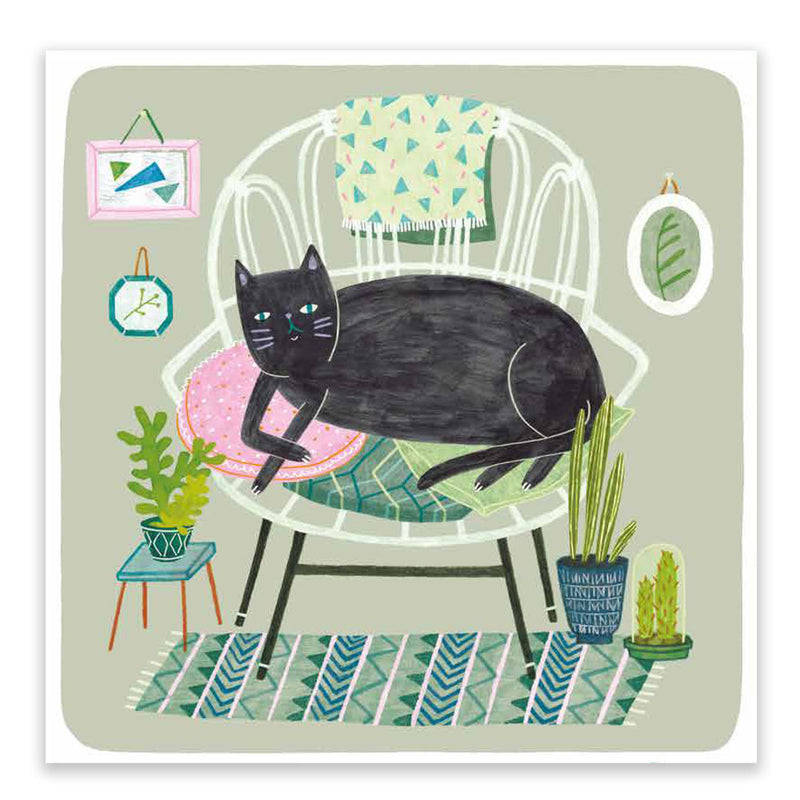 Black Cat On Chair Postcard