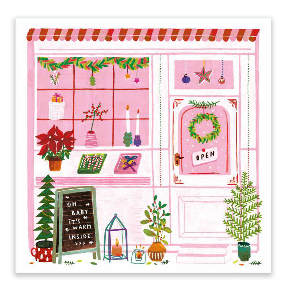 Pink Christmas Shop Postcard
