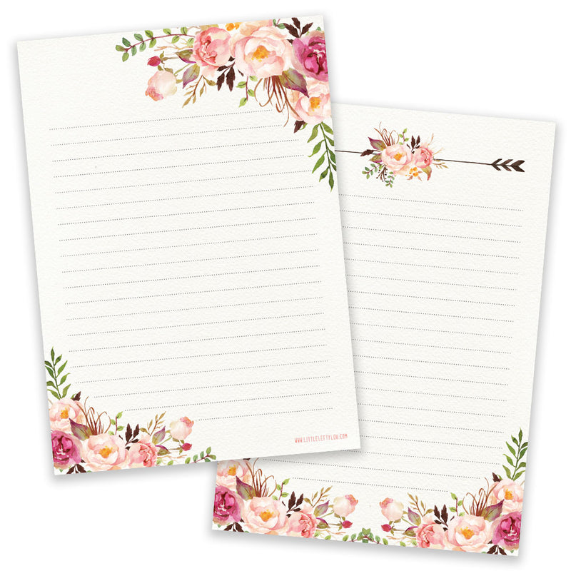 PRE-ORDER - A5 Vintage Flower Notepad - Double Sided - Little Lefty Lou