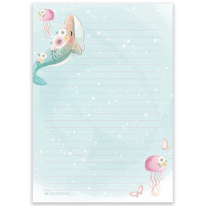 PRE-ORDER - A5 Whales Notepad - Double Sided - Little Lefty Lou