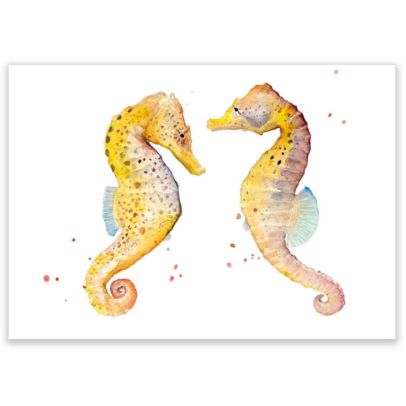 Watercolor Seahorses Postcard - Little Lefty Lou