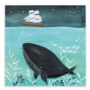Whale And Boat Postcard + Envelope - Little Lefty Lou