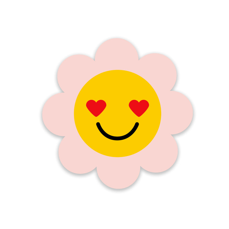 5 x Pink Flower Smiley Stickers