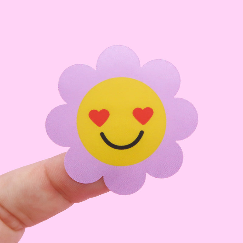 5 x Purple Flower Smiley Stickers