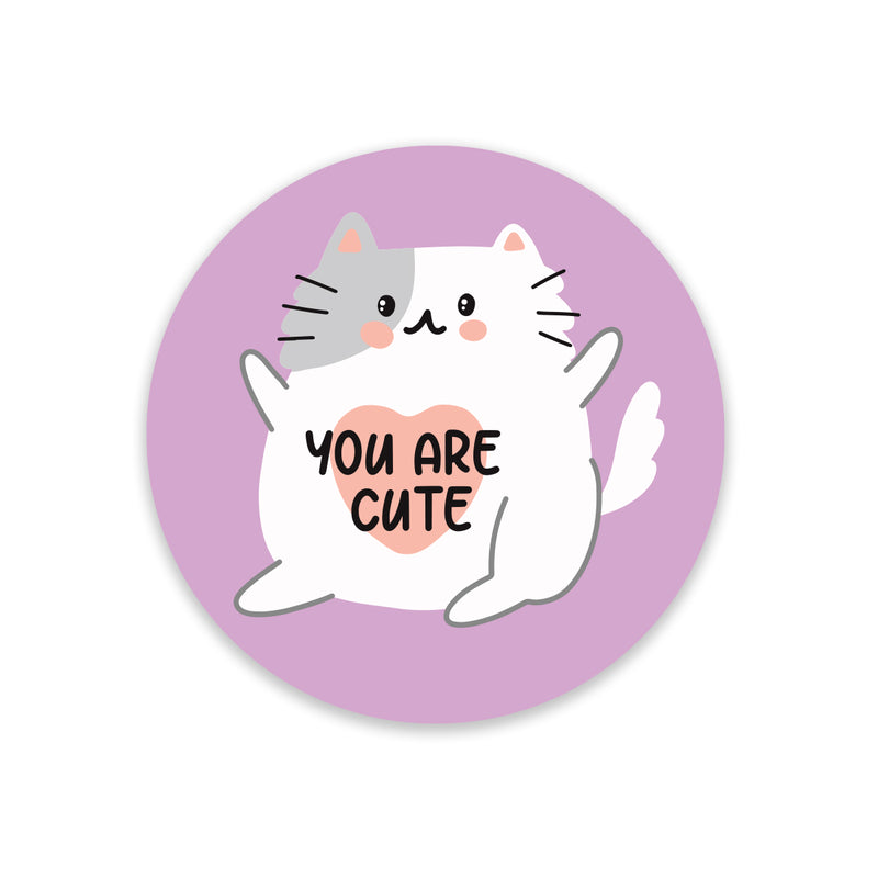 5 x You Are Cute Cat Stickers