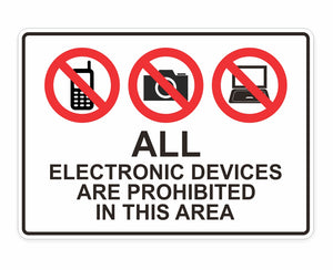 Electronic Devices Prohibited Decal